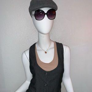 Mossimo Stretch Black Striped 3 Button Vest Large